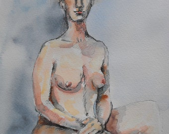 Original figure study, pen and ink, sketch, watercolour washes on paper, from life, female model, seated, 9 X 12, Figure 86