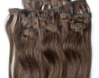 18 inches 7pcs Clip In Human Hair Extensions 4 Dark Brown