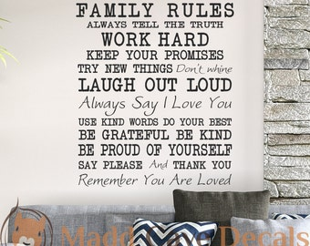 Family Rules Vinyl Wall Decal Quote
