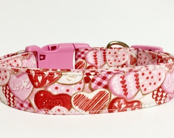 Valentine's Dog Collar, Conversation Hearts, Designer Dog Accessories, Pet Accessories, Adjustable Fabric Collar, Red White Hearts, Gift