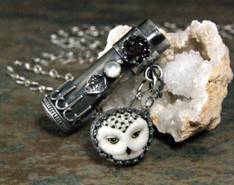 Owl Tube Locket, Custom Made Sterling Silver Laura Mears Owl Necklace, One of a Kind Bohemian Jewelry