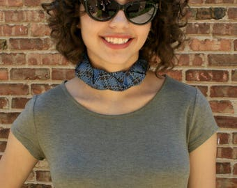 Fabric Choker - Blue Plaid Choker - Gift For Her - 70's Plaid - Hipster Necklace - Hipster Clothing - Blue Plaid Isabella Choker. 22