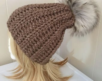 READY TO SHIP Chunky Crochet Hat with Faux Fur Pom Pom - Taupe Sparkle, Chocolate Sparkle - Wool Blend - Women's / Teens