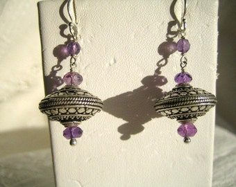 Amethyst and Bali Silver Saucer Earrings