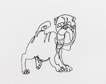 Pug Dog drawing Dogs Pug art Dog illustration Dog drawings Funny dogs Blind contour Drawings of dogs