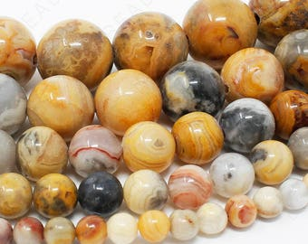 """Crazy Lace Agate Beads Natural Gemstone Round Loose - 4mm 6mm 8mm 10mm 12mm - 15.5"""" Strand"""