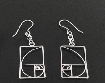 Fibonacci Golden Spiral Earrings in Solid Argentium Sterling Silver