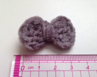 4 bowties gray mouse in wool and crochet