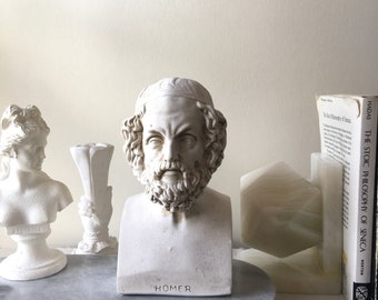 Vintage classique poète Homère buste Sculpture en plâtre