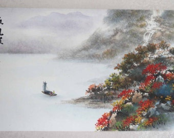 Original Chinese painting-Natural Scenery(Mountain River Boat village  waterfall and Fishermen)