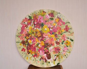 Round artwork Red flower abstract Textured flower Circular painting Abstractionism Wildflower bouquet yellow red corridor art gift-for-women