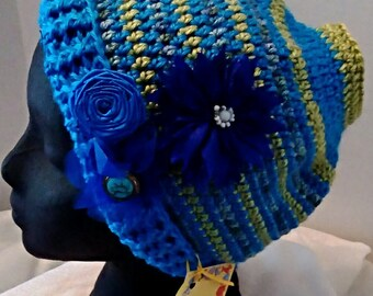 Blue and Olive Messy Bun Hat