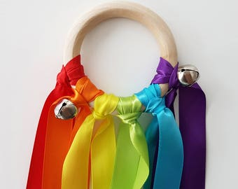 Sensory Rainbow Ribbons - Montessori Inspired, Sensory Toy, Baby Shower Gift, Wooden Rattle, Montessori Baby, Hand Kite