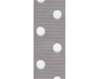 "7/8"" Grey and White Big Aspirin Polka Dot Grosgrain Ribbon with White Polka Dots"