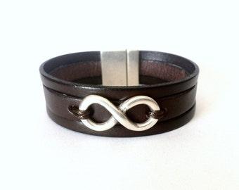 Infinity bracelet, personalized bracelet, mens bracelet, Infinity for mens, leather bracelet, mens gift, christmas gift, cuff bracelet