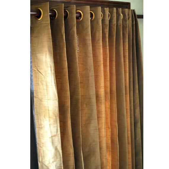 Gold Brown Silk Curtain Panels 52x84 Grommet