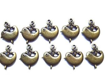 Bird, bronze metal charm 21 mm, 10 Pcs lot