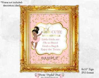 Tutu Cute Treat Table Sign 8 x 10 Pink Gold Princess Ballerina | African American Vintage Baby Girl Bun | Digital Instant Download