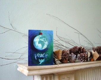WORLD PEACE: Original A6 Christmas card.