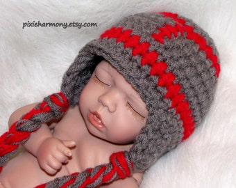 Baby Team Football Hat PHOTO Prop - ANY Team Colors - Newborn - Girl Boy - Reborn Doll - Made to Order