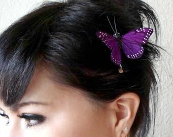 purple butterfly hair clip - hair accessories for women - bohemian hair accessory - bridesmaid gift - whimsical boho hair piece - STELLA