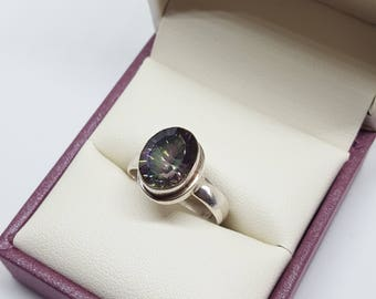SALE Mystic topaz silver ring - size 5.5 - estate ring - vintage ring - promise ring - gift for her - engagement ring - on sale - clearance