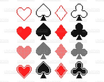 Card Suits, Hearts, Spades, Diamonds, Clubs, Svg, Png, Jpg files, Clipart, Pixelart, Icons and Signs, Digital Card Suits
