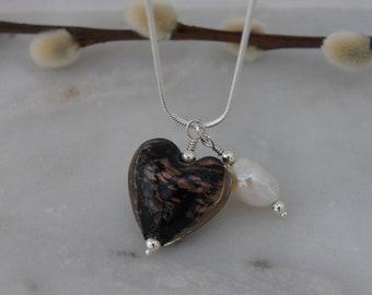 Lampwork Heart & Freshwater Pearl Pendant Necklace