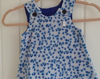 Blue  Flower Girls Pinafore Dress Age 6 months