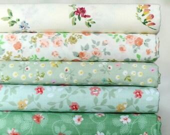 """5 Cotton Fabric Bundle 20""""x20""""(50x50cm)_Green Floral"""