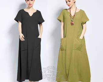 Anysize V-necked soft linen&cotton loose dress plus size dress plus size clothing Spring Summer dress spring summer clothing F144A