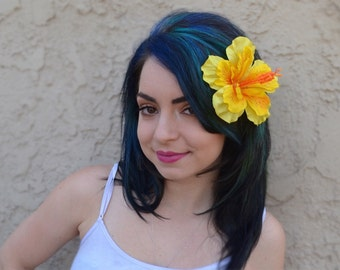 Flower Hair Clip - Yellow Hawaiian Hibiscus - Hair Accessories - Hula Flowers - Beach Party - Flower Girl - Bridal - Festivals