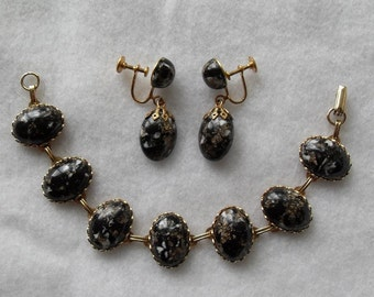 Faux Black Marble and Gold Tone Bracelet and Earrings