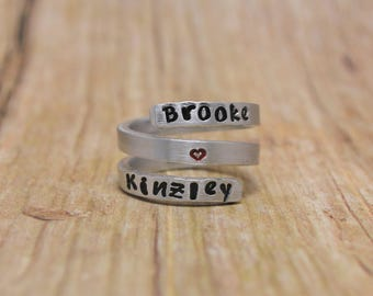 Triple Wrap Name Ring, Personalized Twist Ring, Hand Stamped Mother's Name Ring, Gift for Mom