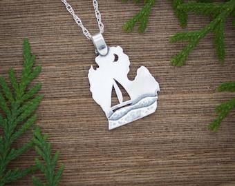 Michigan Jewelry, Michigan necklace, Sterling silver Sailboat Jewelry, Michigan sailboat pendant