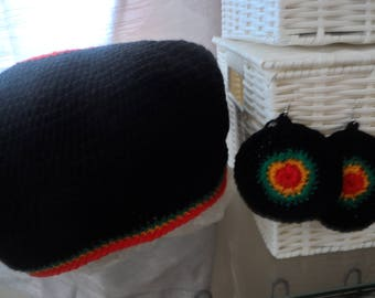 Rasta Fine Crochet Tam *Crown*& Earring Set