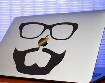 Hipster Beard & Glasses Computer Decal-Beard Sticker-Hipster Mac Sticker-Beard Laptop Decal-Computer Decal