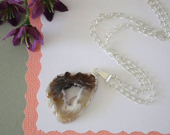 Geode Necklace Silver, Crystal Necklace, Geode Agate Slice, Boho Jewelry, Druzy Pendant, Natural Geode, GN71
