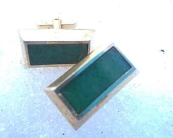 Cufflinks Gold with Large Green Malachite Stones