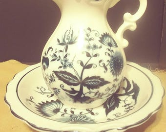 Blue Onion Porcelain Pitcher and Bowl