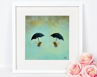 Bee Print, Umbrella Art Print, Quirky Gift Idea, Insect Wall Art, Nursery Decor, Gardener's Gift, Nature Print, Wildlife Art, Bumblebee