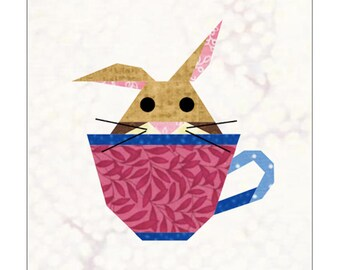 Bunny In A Cup Quilt Block Paper Pieced Pattern