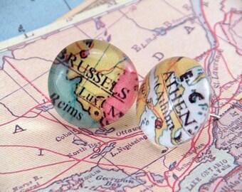 Custom Glass Any US Atlas Map or International Location Post Earrings