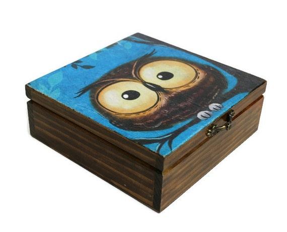 Owl box Jewelry owl box Wood decoupage box Keepsake Trinket