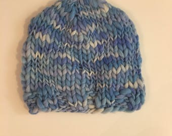 SALE 0-6 month Hand Knit Thick and Thin Beanie - FREE SHIPPING