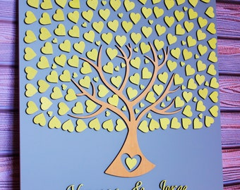 Yellow wedding guest book Yellow and grey wedding guest book 3d Alternative wedding guest book sign Wedding guest book tree Wedding gift