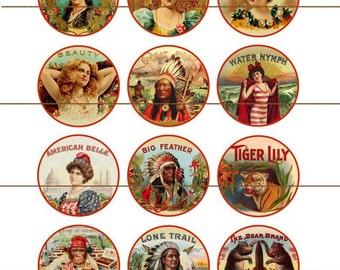 "Cigar Label Magnets, Cigar Label Pins, Fridge Magnets, Vintage Cigar Labels, Antique Cigar Labels,  1"" Flat, Hollow Bk, Cabochons, 12 ct"