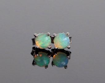 Genuine Opal Stud Earrings - Sterling Silver 4mm Opal Earrings, Natural Opal Earrings, Opal Earrings Silver, Silver Stud Earrings