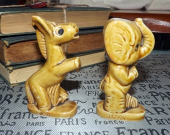 RARE! Mid-century (c.1960s) Political animals: Republican Elephant + Democratic Donkey. Made in Japan.