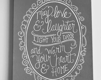 Custom Hand Lettering Canvas - Warm Your Home